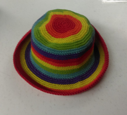 Kids Crotchet Hat Rainbow