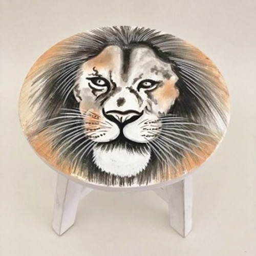 Stool Tiger Beautifully painted wooden stool.  Approx 30 x 30cm