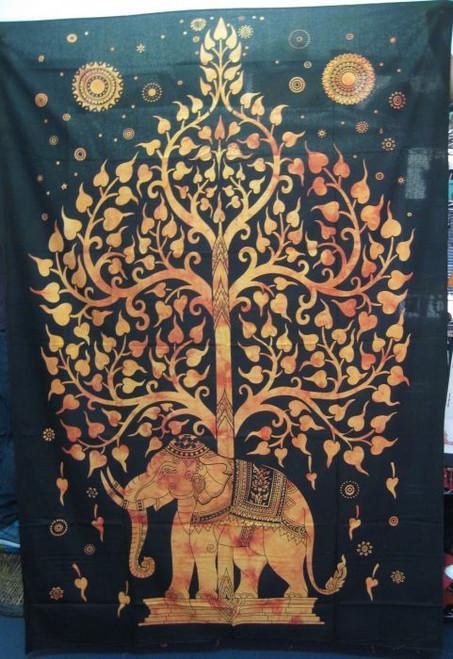 Throw/Wall Hanger Elephant Tree of Life Rust  Queen size 200 x 220cm