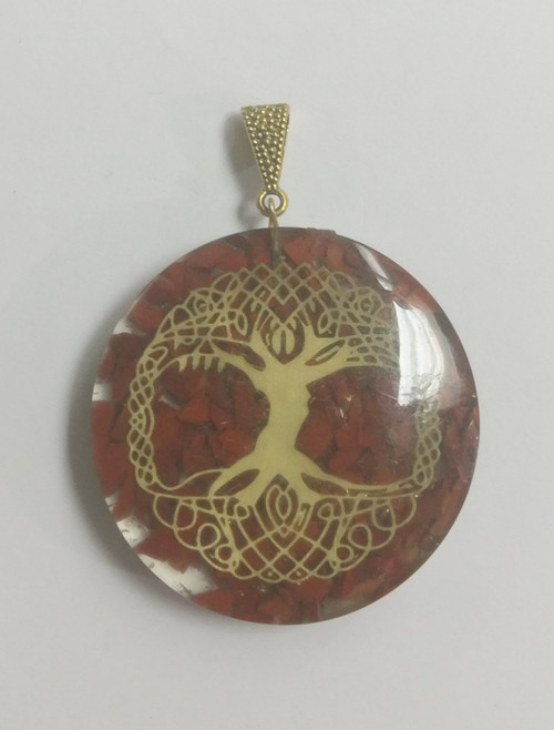 "Organite Tree of Life  Approx 5 x 7cm including brass clasp, Red Jasper ORGONITE refers to a mix of crystals and or semi-precious gemstones, metals and resin in a combination that may balance out our life-energy. This natural Earth energy is considered the most powerful energy there is and the frequency it resonates is considered the ""heartbeat"" of our planet. The organic materials absorb the vital, orgonic energy, while the non-organic materials disperse it back in all directions. Crystals & precious gemstones are electrically charged by the resin, that contracts them. Hence, the powerful healing effects of the crystals are magnified in an orgone pyramid. Benefits of Orgone Pyramids: When placed in your work, living or sleeping space, the orgone pyramids have the ability to clean the energies in the room & protect the individuals from EMF radiation. Laboratory research shows that living body cells strengthen their immunity & reach optimal physical & psychological health. This includes: Help insomnia & improve sleep & vivid & pleasant dreams Improves immunity & resistance to illness, enhances energy & overall wellness Protection from EMF radiation caused by electronic devices Create a peaceful environment by enhancing positive energies Access deeper meditative states, strengthen visualisations & intentions Project high vibrational energies the minimise stress Assists in imbalances as if they know what one needs on a spiritual level."