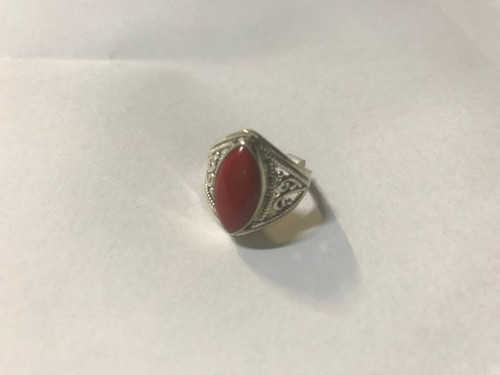 Ring Red Jasper Marquis Sterling Silver  Ring Size 6.5 Stone approx 1 x 2cm