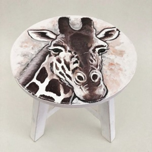 Stool Giraffe Beautifully painted wooden stool.  Approx 30 x 30cm