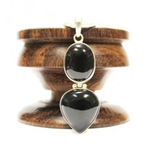Pendant Black Onyx 2 Stone Set in 925 Solid Sterling Silver 5 x 2.5cm