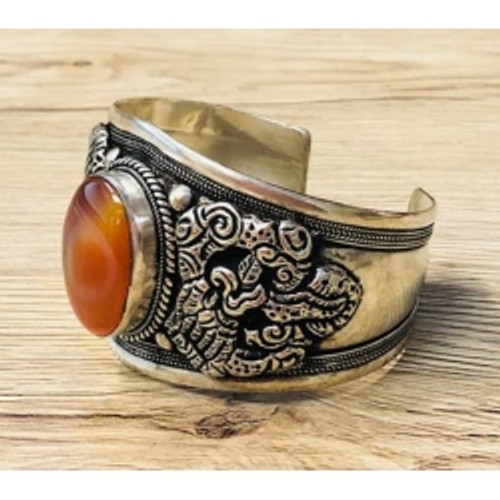 Bangle Carnelian Dragon  Silver plated bulky bangle Approx 5.5cm at widest point