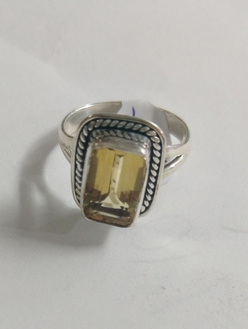 Ring Citrine -    Shop with Afterpay & pay only $17.25 over 8 weeks Size 10 Set in sterling silver. Approx 1.6 x 1.3cm