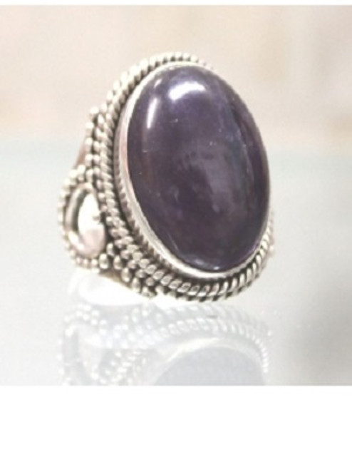 Ring Amethyst Dark  -    Checkout with Afterpay & pay 4 equal payments of only $12.25 over 8 weeks Size 8.5  sterling silver.