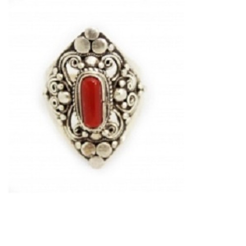 Ring Red Coral Filigree  -    Checkout with Afterpay & pay 4 equal payments of only $12.25 over 8 weeks Size 8  sterling silver. Approx 2.5 x 3cm