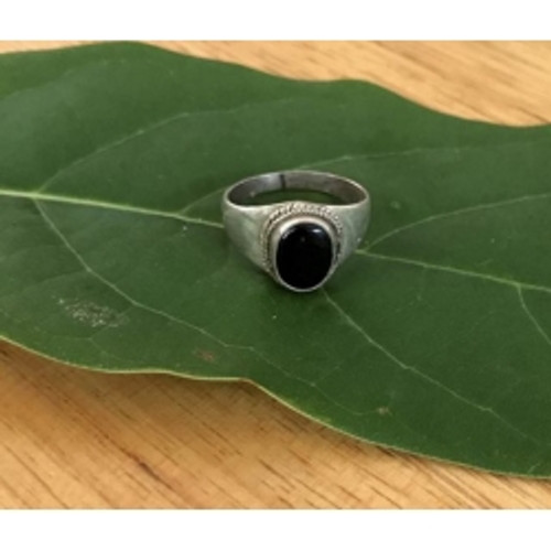 Ring Black Onyx Plain  -    Checkout with Afterpay & pay 4 equal payments of only $8.5 over 8 weeks Size 6  sterling silver. Approx 75 x 1cm