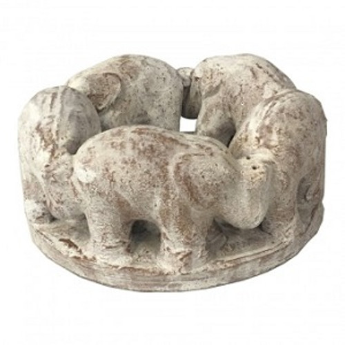 Elephant T Lite Candle Holder White Wash  Made from terracotta Approx 16 x 8cm