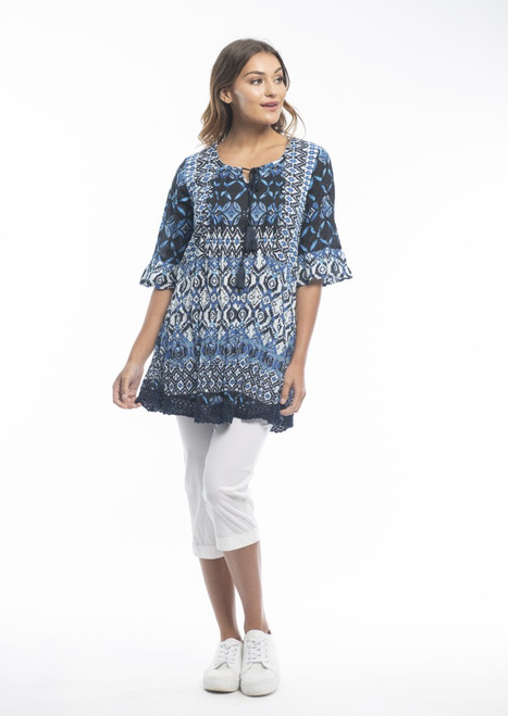 OS Boho Tunic  S Navy  Lovely 100% cotton with 3/4 sleeve with frill, tie at neckline & small crochet lace hemline.