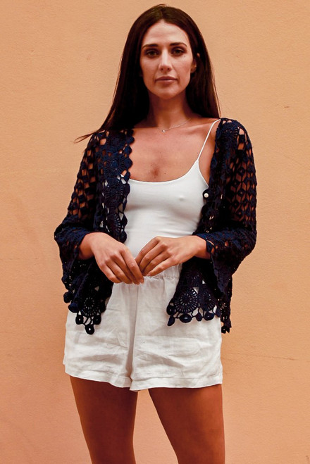 M Cardie Navy  3/4 sleeve & short length crotchet cardie One size fits to 16