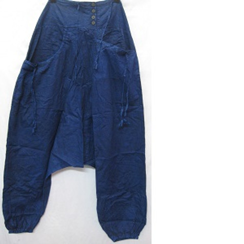 Haram Pants Navy Has front pockets & back pocket. Rouched waiste with shirring at back for easy fit & comfort. Elastic at ankles. Stonewash look light 100% cotton One size fits 10-16