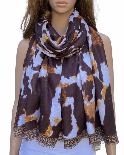 Scarf Blotch Brown/white Thick Cotton