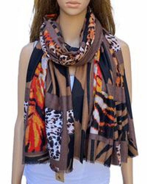 Scarf Animal Patch Brown  Thick Cotton