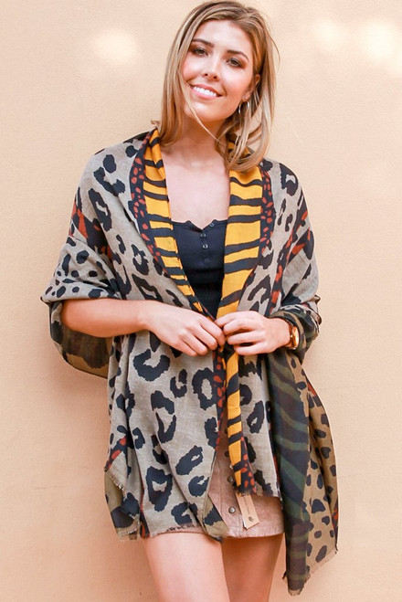 Scarf Animal Patch Mustard Thick Cotton