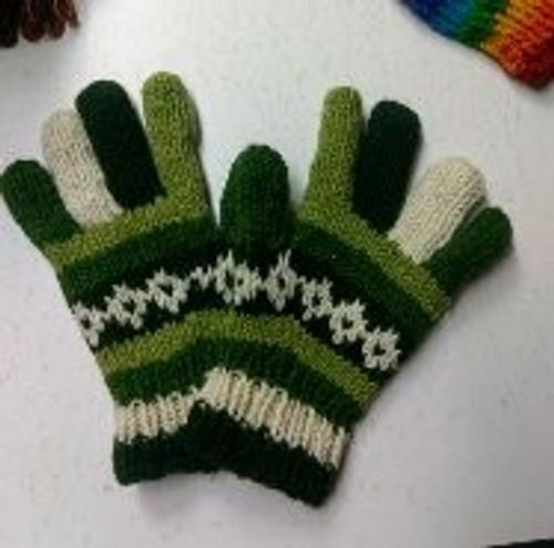 Glove Green 100% wool with fleecy lining.