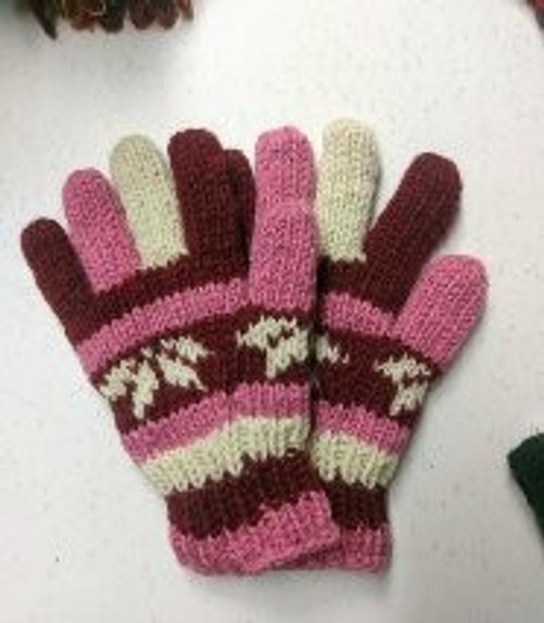 Glove Pink  Beautiful thick 100% wool with fleecy lining