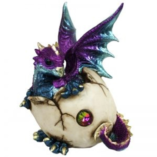 Baby Dragon Hatching Purple Approx 18x13cm