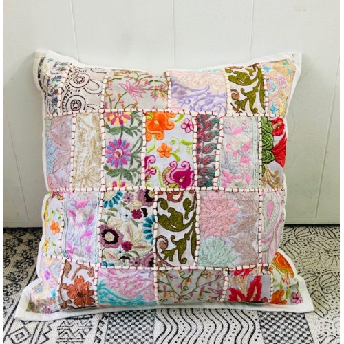 Cushion Patchwork with Embroidery White/Pink 45 x 45cm