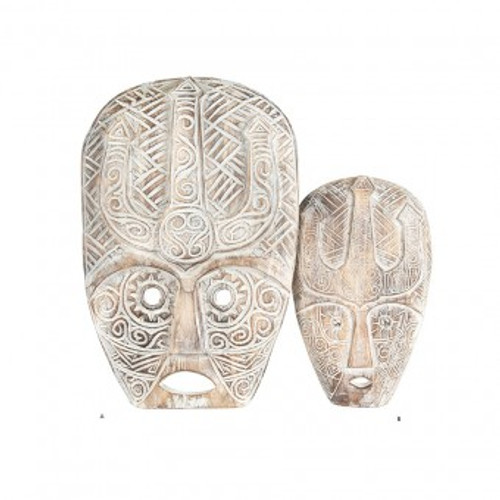 Hand-Carved Warrior Mask Wallhanging Large 30x45cm  Natural+Whitewash
