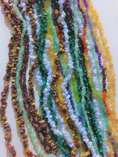 Crystal Chip Necklace  Approx 36 inches Assorted Colours