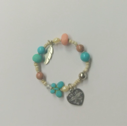 Bangle with Heart & Feather
