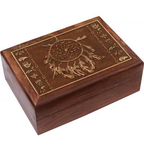 Box Dreamcatcher  Velvet lined mango wood Approx 13 x18cm