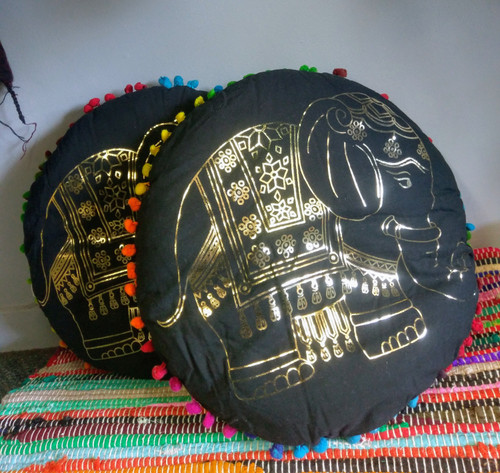 Cushion Elephant Round Black & gold with pom poms Approx 40cm