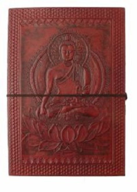 Buddha Large Journal Approx A4 size - 26cm x 18.5cm x 3.5cm wide. Beautifully handcrafted journal with stenciled leather & recycled paper. Made in India.