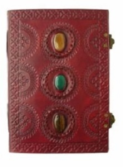3 Stone Large Journal with clasps Stones may vary Approx A4 size - 26cm x 18.5cm x 3.5cm wide. Beautifully handcrafted journal with stenciled leather & recycled paper. Made in India.