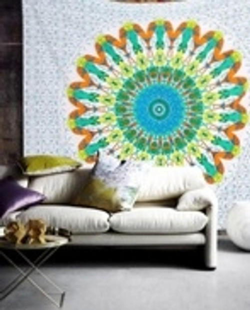 Large Mandala Throw/cover/wall hanger. White, blue, green & orange. 220 x 200cm. 100% cotton. Colourful, boho, hippie