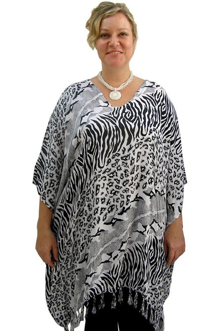 SD Kaftan Animal Black/White Super comfy with Tassels  One size fits 10-20.