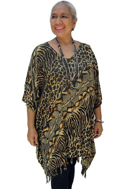 SD Kaftan Animal Brown Super comfy with Tassels  One size fits 10-20.