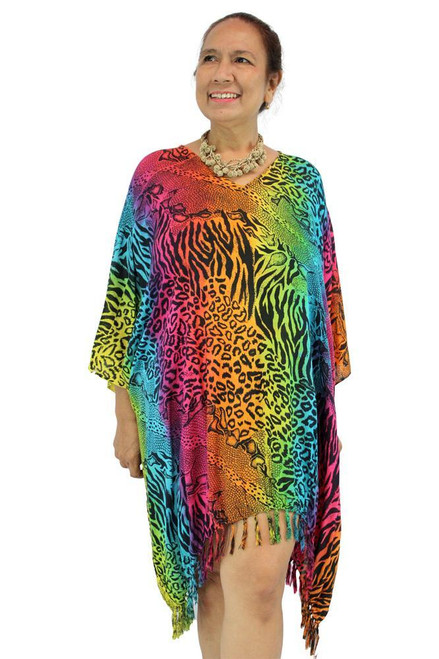 SD Kaftan Animal Rainbow Super comfy with Tassels  One size fits 10-20.