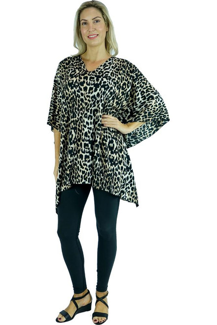 SD Kaftan Leopard Black Super comfy with V neck  One size fits 10-20.