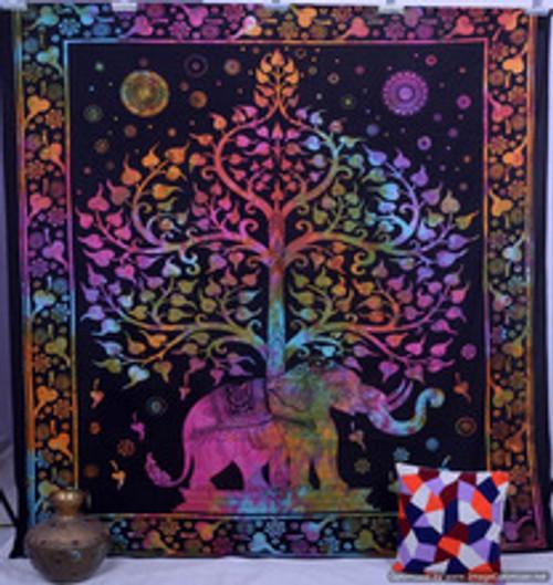 Elephant/Tree Mandala Throw/cover/wall hanger. Tye Dye. 140 x 200cm. 100% cotton. Colourful, boho, hippie, single bed.