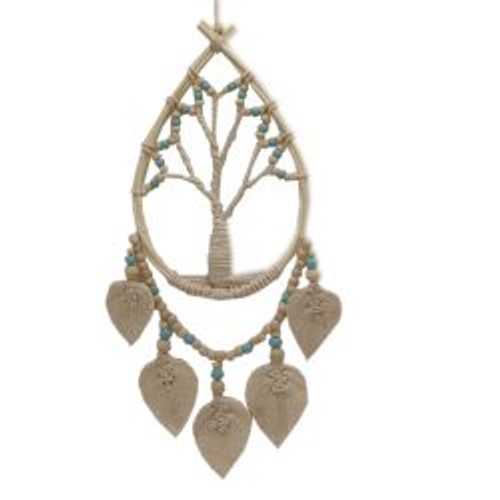 Dream Catcher Tree of Life With leaves & turquoise beads 50 x 20cm