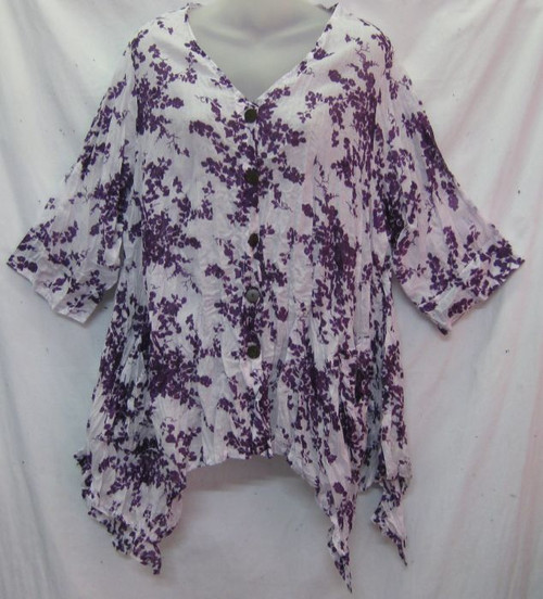 Mama Blouse Purple (size M/L(14-18)  Button up, 3/4 sleeve & 2 front pocket Angeled hemline 100% Napali cotton