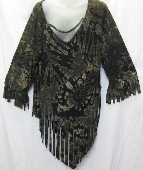 TH Tye Dye Black Top 3/4 sleeve with fringe at hemlines Fits 12-16