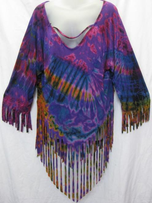 TH Tye Dye Fringed Purple Top 3/4 sleeve with fringe at hemlines Fits 12-16