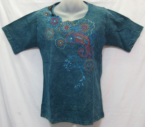 TH Embroidered Tee Teal (M)  Fits 8-10