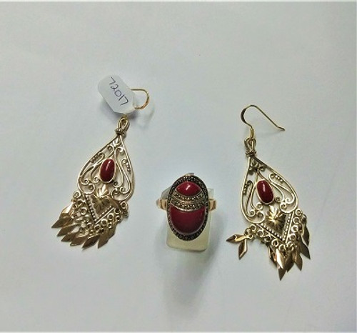 Earring Gypsy Bronze with Red Stone.