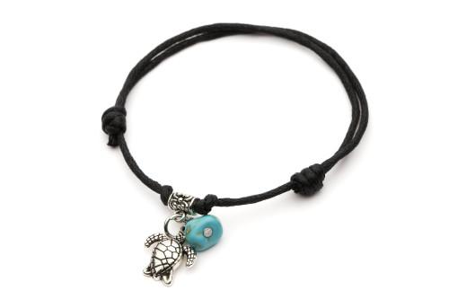 Leather Adjustable Bracelet Turtle & Turquoise