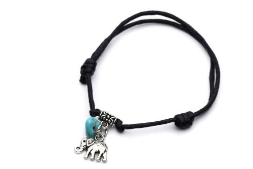 Leather Adjustable Bracelet Elephant & Turquoise