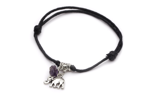 Leather Adjustable Bracelet Elephant & Amethyst