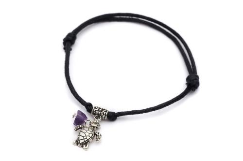 Leather Adjustable Bracelet Turtle & Amethyst