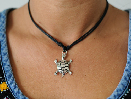 Leather Adjustable Necklace/Choker Turtle
