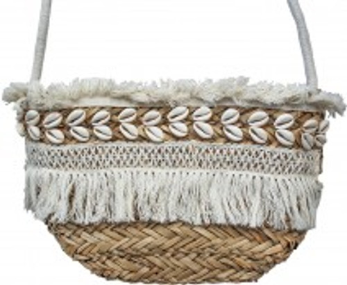 Tote Basket with Shells & Tassels approx 24 x 30 x 15cm