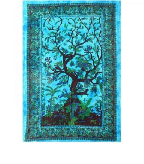 Throw Tapestry Tree of Life Turquoise 100% cotton, single size 147x208cm