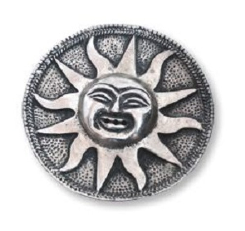 Silver Sun Incense Holder made from a white metal